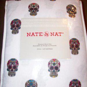 NWT Sugar Skulls 4 pc Full Size Flannel Sheet Set